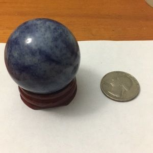 Blue quartz dumortierite crystal ball with stand